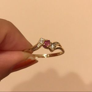 Stamped solid 14k yellow gold ring with pink topaz